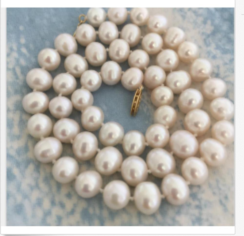 classic round freshwater 10-11mm white pearl necklace 18inch 925silverclassic round freshwater 10-11mm white pearl necklace 18inch 925silver