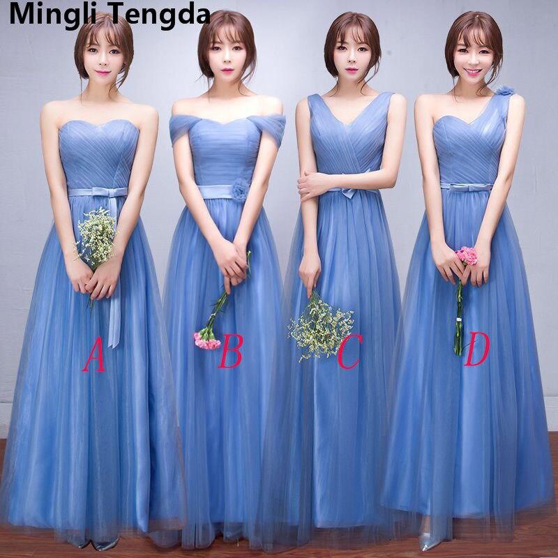 773511dc7a9b Mingli Tengda 2018 Simple elegante tul vestidos de dama de honor cuello  barco fuera del hombro ...