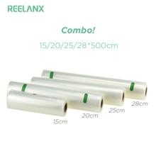 REELANX вакуумный упаковщик Сумки 4 рулона/лот 15 см 20 см 25 см 28 см * см 500 см еда сумки для хранения кухня свежая пищевая упаковка