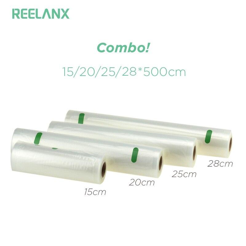 REELANX Vacuum Sealer Borse 4 Rolls/Lotto 15 cm 20 cm 25 cm 28 cm * 500 cm Cibo borse contenitore Da Cucina Fresca di Imballaggio Per Alimenti