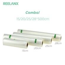 Reelanx sacos de vácuo 4 rolos/lote 15 + 20 25 28*500cm saco de armazenamento para alimentos aferidor do vácuo embalagem