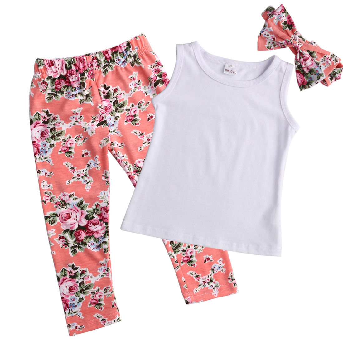 Tops T-shirt Vest Long Pants Children Kids Baby Girls Clothing 3pcs Flower Vintage Bow Hairband Cotton Clothes Sets Summer New