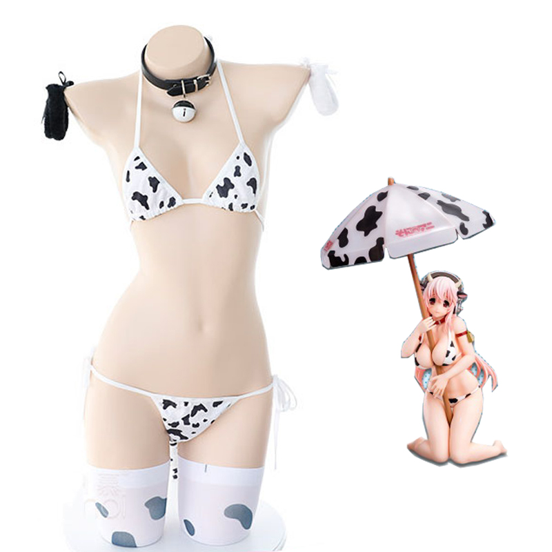 Anime Super Sonico <font><b>Cow</b></font> Cosplay Costume Lolita Girl Cute Bikini Suit Underwear <font><b>Sexy</b></font> Bra and Panty Lingerie Set Stockings image