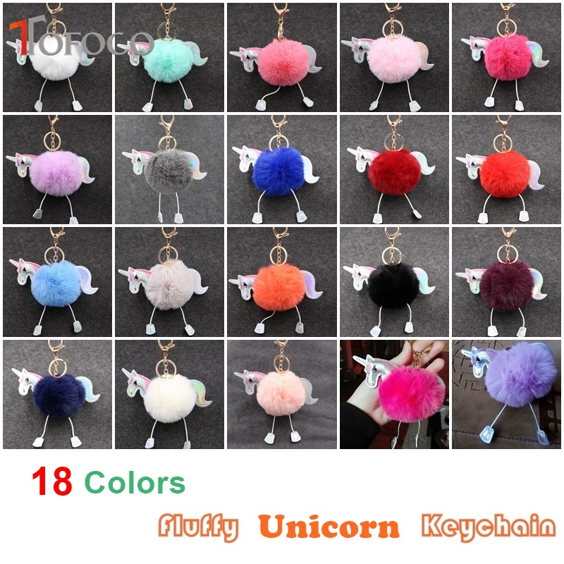 TOFOCO New 18 Colors Fluffy Unicorn Toy Keychain Pendant Cute Pompom Artificial Rabbit Fur Doll For Bag Car Xmas Valentine Gift