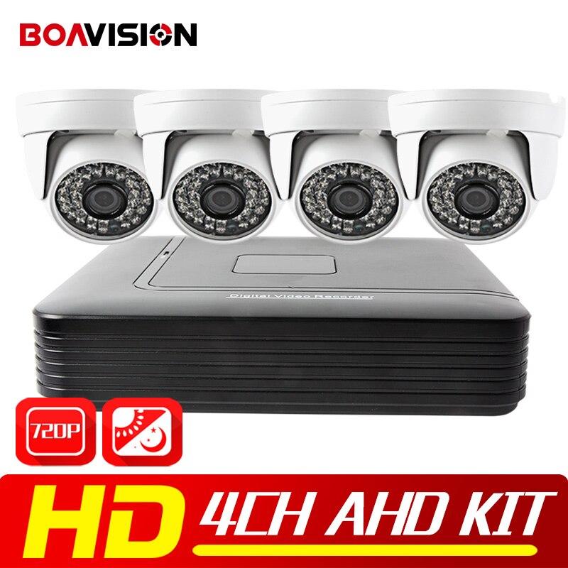 4CH AHD DVR CCTV Camera System 1080N DVR 4PCS 720P 1200TVL IR Dome AHD Camera Home AHD Security System Surveillance Kits