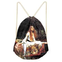 Drawstring Bag Women's Van Gogh oil Painting Backpack Females Small Shopping String Pouch Kids Girls Logo Custom Bolsos Rucksack(China)