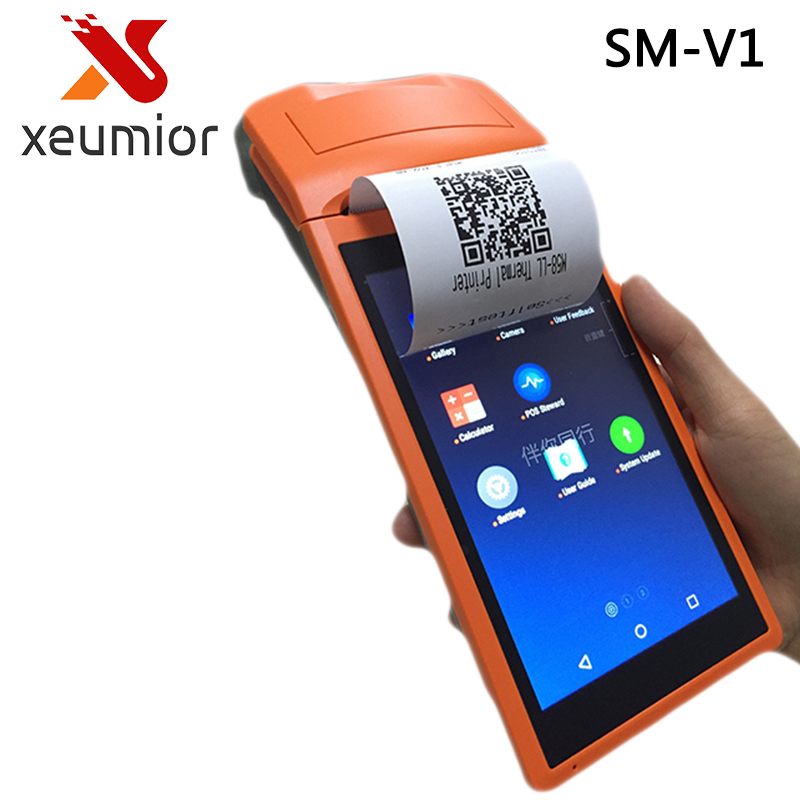 V1 Handheld Takeout Receipt Printer 5.5 Display Wifi /3G/Bluetooth Mini Android 5.1 Pos Terminal Printer Barcode Scanner