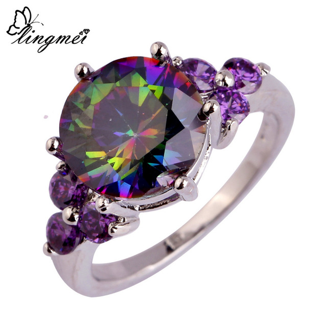 lingmei Wholesale Mysterious Rainbow CZ & Purple Silver Ring Size 6 7 8 9 10 11