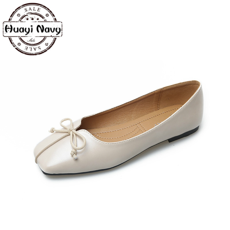 New 2018 Fashion Women Ballet Flats Square Toe Butterfly Slip On Lined Comfortable Soft Bottom Loafers Mom Shoes Plus Size 35-41 sale top autumn spring fashion comfortable mom shoes slip on large sizepeas shoes nurse shoes women soft bottom leisure shoes