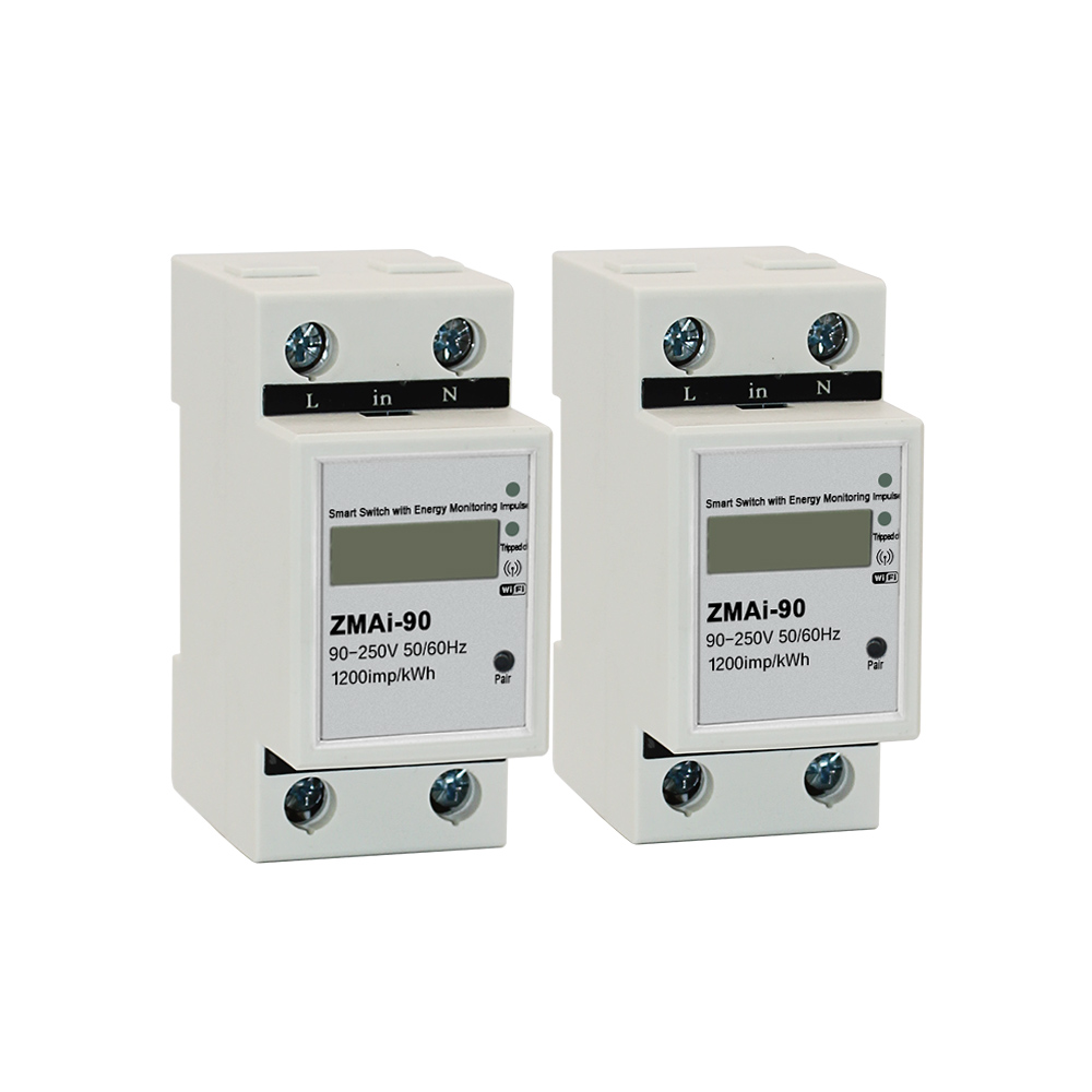 2pcs Smart Life APP Single phase Din rail WIFI Smart Energy Meter Power Consumption kWh Meter