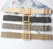 New Vintage Knitted Wax Rope Wooden Bead Waist Women Smooth Buckle Belt Woman Woven Female Hand-Beaded Braided BZ51