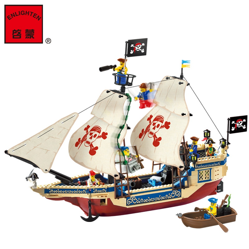ENLIGHTEN 311 Pirates Series Blocks Toys for Kids 487 PCS Model King of the Sea Pirate Ship Building Bricks Kids Assembled Toys lepin 22001 pirates series the imperial flagship model building blocks set pirate ship lepins toys for children clone 10210