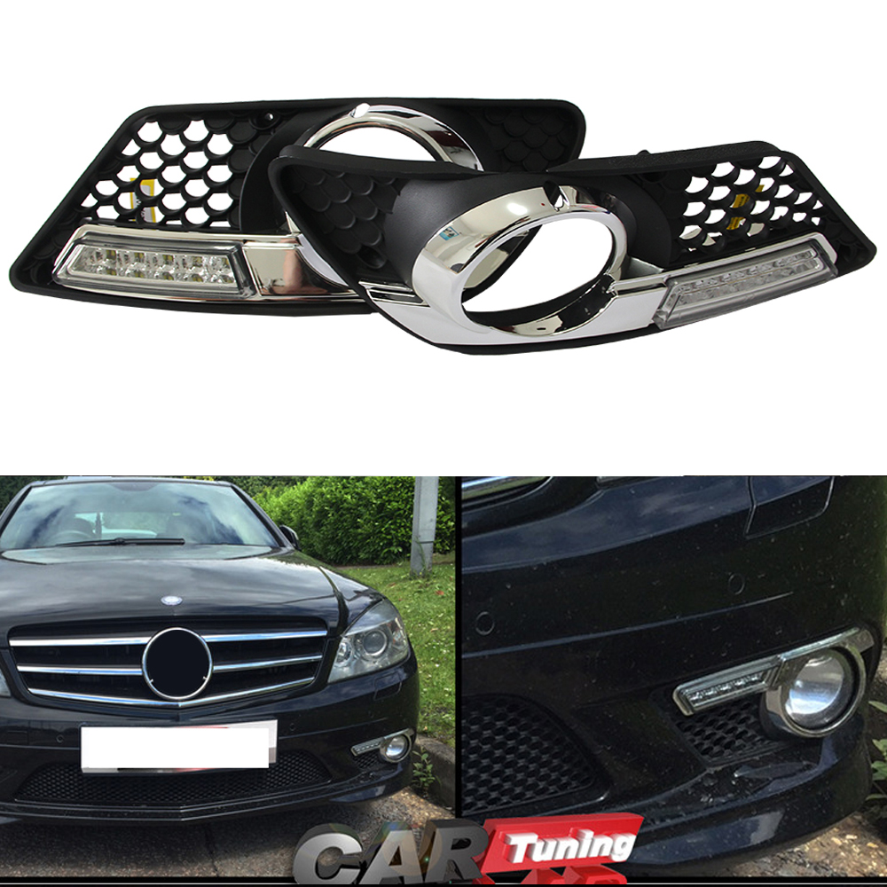 12 months warranty brightness dimmable multi function cree chip led daytime running light for benz w204 with e4 certification