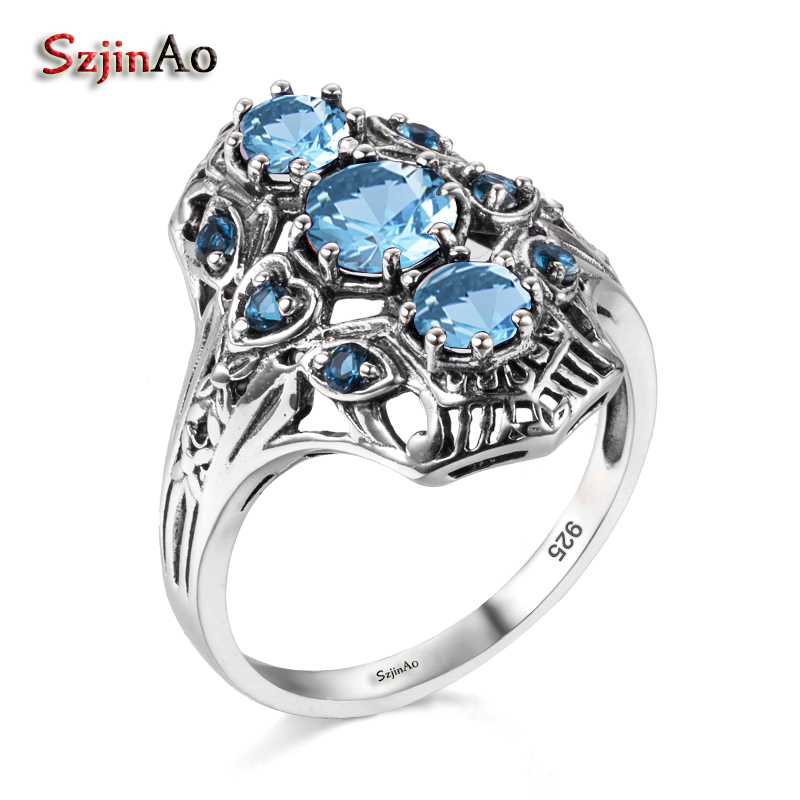 Szjinao 925 Sterling Silver Rings for Women Genuine Sterling Silver Jewelry Bohemia Vintage Aquamarine Marriage Ring Factory