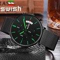 SWISH, мужские часы, кварцевые часы, мужские спортивные водонепроницаемые наручные часы, люксовый бренд, мужские наручные часы из нержавеющей ...