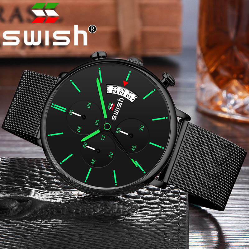 SWISH Men Watch Quartz Watch Man Sports Waterproof Wrist Watches Luxury Brand Men Stainless Steel Wristwatch Mens