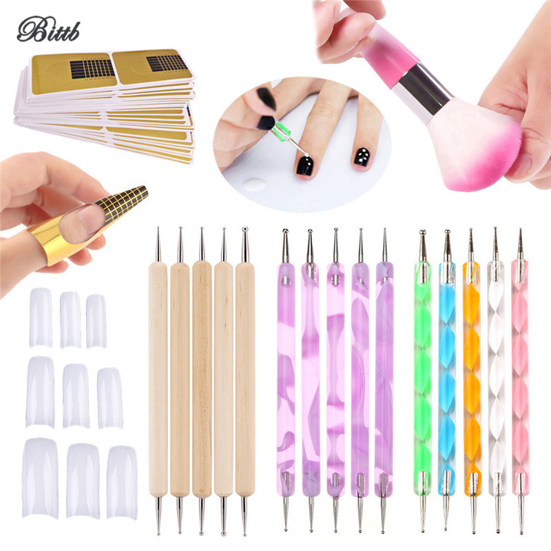 Bittb Nail Dotting Pen Set Clear 100pc French False Nails Cleaning Brush Rhinestone Picker Manicure Acrylic Nail Forms Art Tools 100pc fashion black coffin nail flat top stiletto nails diy nail art full cover false nails diy wholesale manicure products e25b