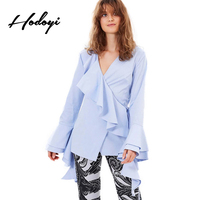Hodoyi 2017 Fashion Solid Blue Casual Loose Women Shirt Flare Sleeve Lace Up Femanle Blouses V