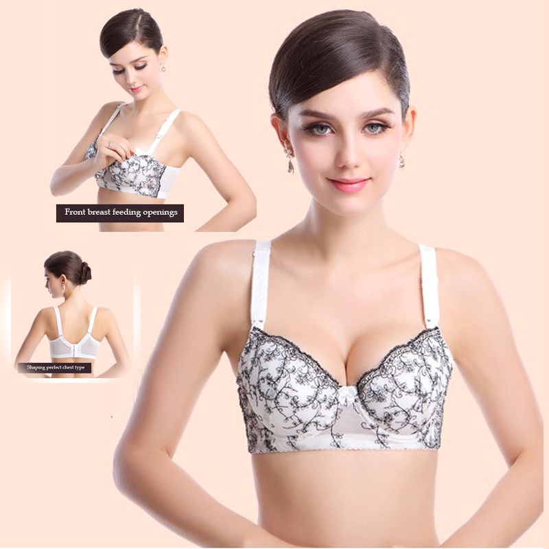 Free Shipping 100% Cotton Plus Size Cups Push Up Gather  Fashion Lace Nursing Bra Maternity Bra Breastfeeding Bra