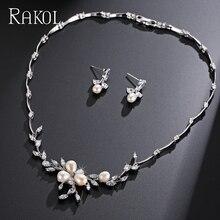 Top Quality Cubic Zirconia Wedding Jewelry Set Romantic Imitation Pearl Flower Jewelry For Women FSSP297