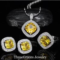 2016 Summer Design 925 Stamp Sterling Silver Yellow Austrian Crystal Fashion Ladies Jewelry Set With Zirconia