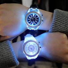 купить Sports Women Lady Girl Rubber Band Candy Wrist Watch Couple jelly rhinestone Led Night Light Quartz Watch Colorful Strap онлайн