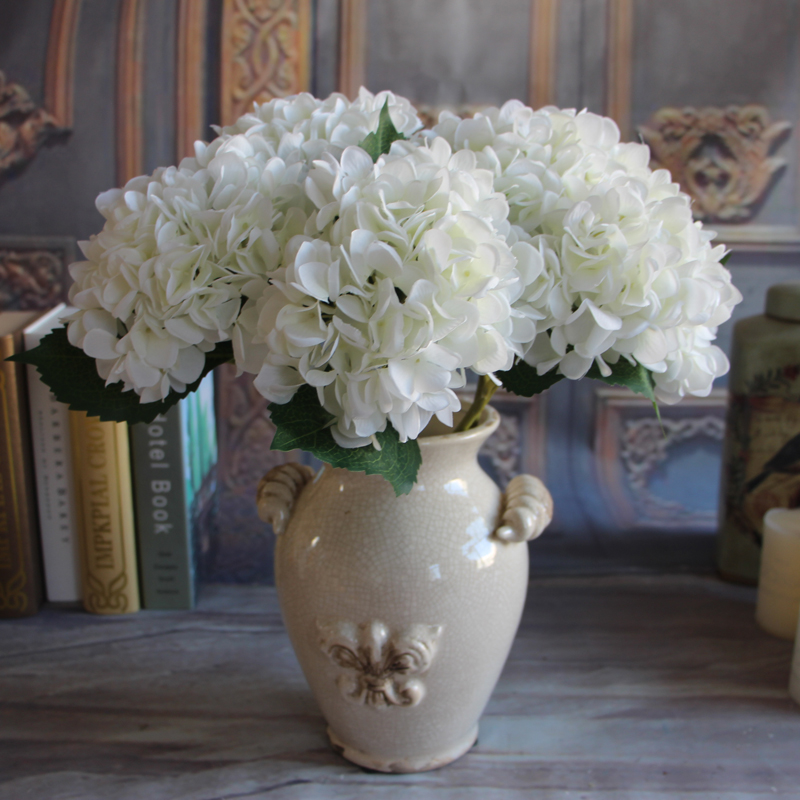 2pcs Pure White French Hydrangea Artificial Silk Flower Arrangement Room Home Decor Party Diy China