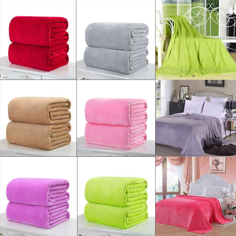 1PC Home Fashion Super Soft 50x70cm Warm Solid Warm Micro Plush Fleece Blanket Throw Rug Bedding Cover