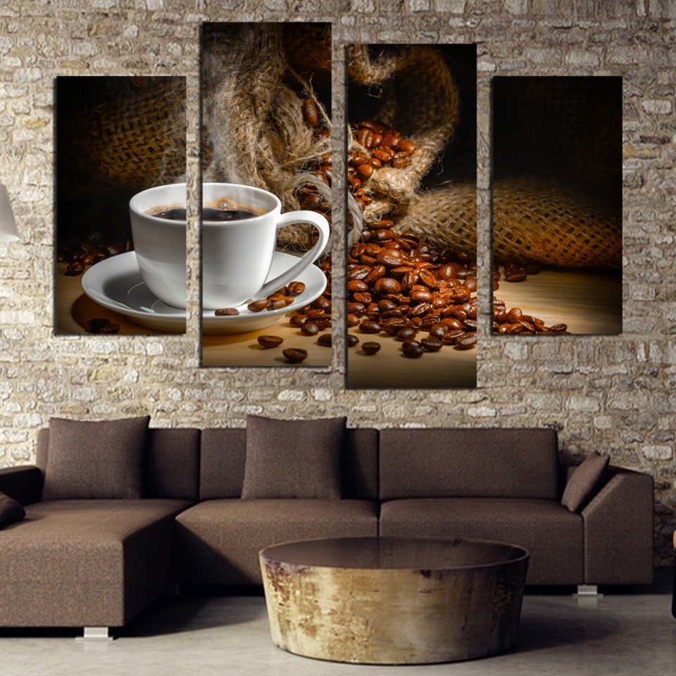 Us 992 40 Offframework Wall Art Poster Home Decoration Modern 4 Panel Coffee Beans Living Room Canvas Hd Print Modular Pictures Painting In
