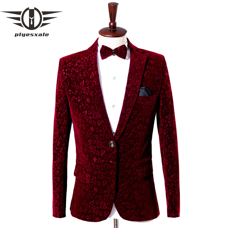 Plyesxale Burgundy Velvet Blazer Masculino Luxury Mens Floral Blazers Jacket Fashion Printed Designs Wine Red Prom Blazer Q459