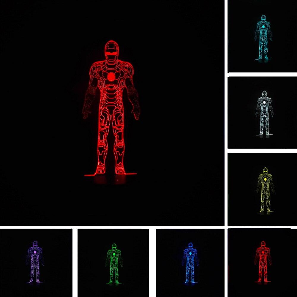 7 цветов Изменение градиент Mavel Железный человек визуальный USB Touch Lampara СВЕТОДИОДНЫЙ Ночник настольный светильник Спальня Иллюзия Семья друг...