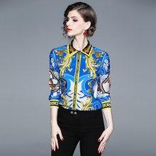 b7277f4696 THC Women Vintage Poplin Blouse Shirts Turn Down Collar Printed Floral  Shirt Tops Long Sleeve Blouses Feminino High Quality