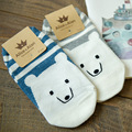1Pair/lot Summer Style Cute Lovely Cartoon Polar bear Cotton Socks For Women Girls Sock Fashion Slippers Ladies Grey Ankle Meias