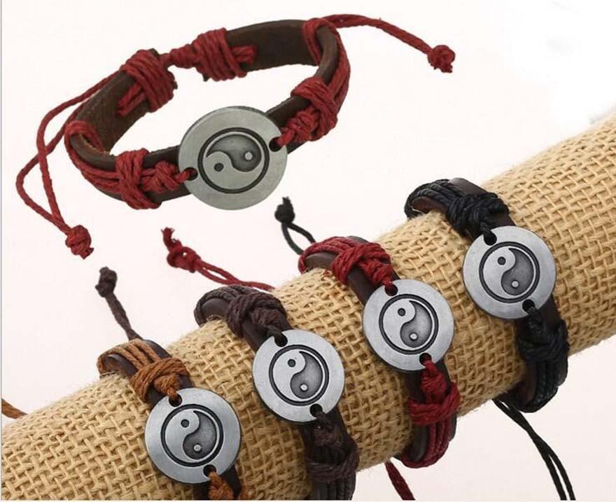 Mens Wrap Leather Bracelet Yin Yang Gossip Wristband Charm Infinity Handwork Women Multilayer Chain Jewelry Punk