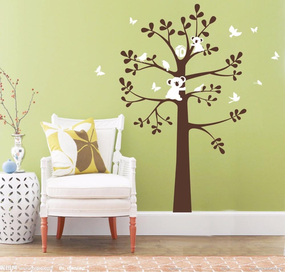Yanqiao Cartoon Koala and Tree Bird Nest Wall Sticker Self Adhesive ...