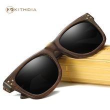 Kithdia Dark Frame Wooden Sunglasses / Bamboo Sunglasses Polarized Lens and Support Drop Shipping / Provide Pictures #KD028 fashionable blue polarized lens bamboo frame sunglasses