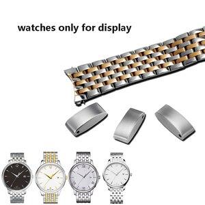 Image 3 - PEIYI качественный ремешок для часов из нержавеющей стали, 20 мм, серебристый и розовое золото, металлический браслет, сменная цепочка для часов tisto T063