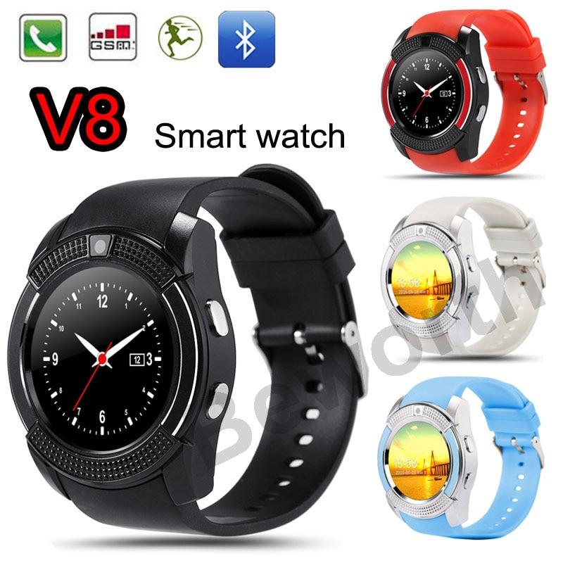 Smart watch v8 bluetooth smartwatch soporta gsm sim perseguidor de la aptitud se