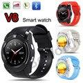 Smart watch v8 bluetooth smartwatch suporta gsm sim esportes relógio de pulso pedômetro rastreador de fitness para android phone camera vs q18