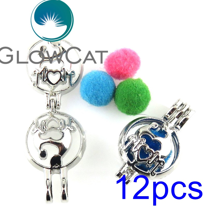 GLOWCAT 12x R-K561 Maternal Love Mom Kids Beads Cage Pendant Essential Oil Diffuser Oyster Pearl Cage Locket Jewelry Making