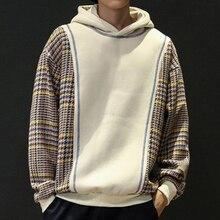 Fleece Oversized Sweatshirt Hoodie Men Harajuku Japanese Patchwork Mens Sweatshirts Hoodies Pullovers Winter Warm Thick
