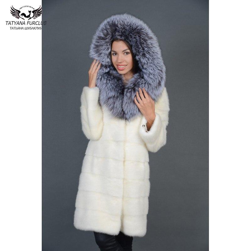 Tatyana Furclub Visone Cappotto di Pelliccia di Lusso Completa Pelt Visone Naturale Giacca di Pelliccia Con Silver Fox Cappuccio di Pelliccia Con Cappuccio di Pelliccia Bianca inverno Outwear