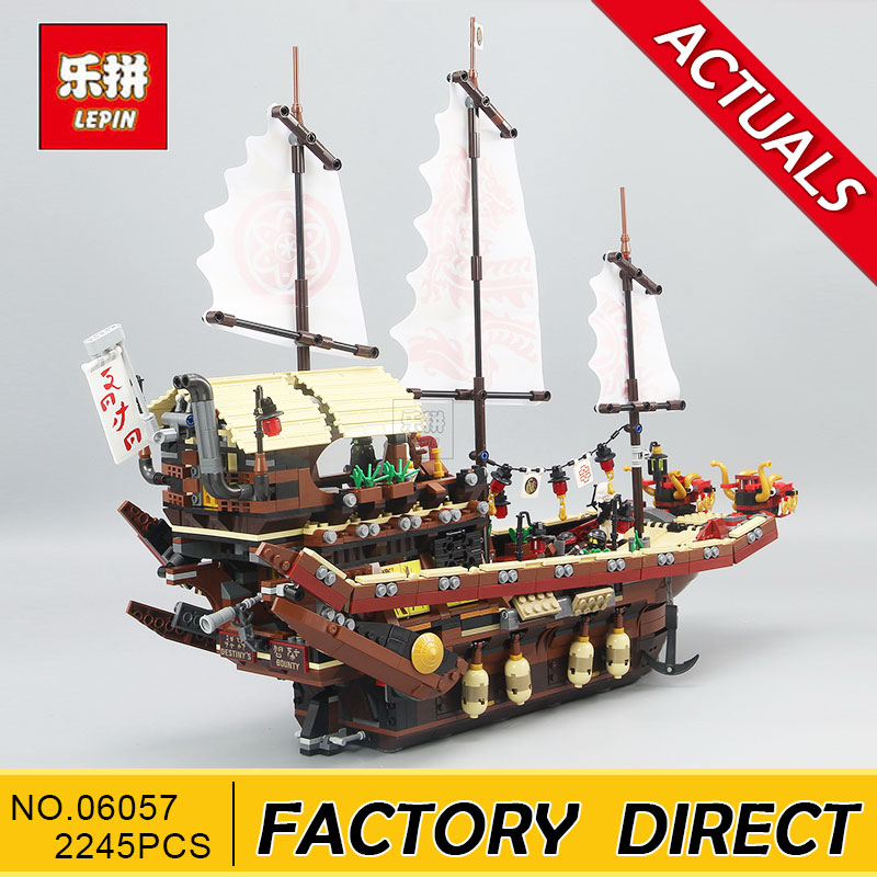 Lepin 06057 2455pcs Ninja Final Fight Of Destiny\'s Bounty Building Block Compatible 70618 Brick Toy lepin 06020 final flight of destiny s bounty 1325pcs ninja building blocks toys for children gifts compatible legoinglys 70738