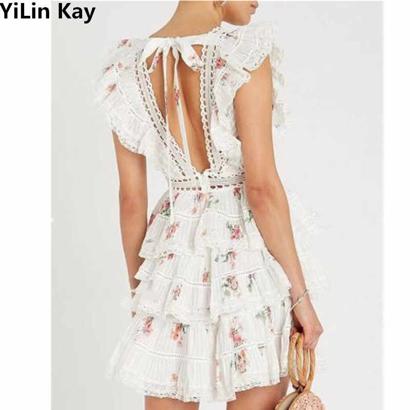 YiLin Kay Self-Portrait Runway Water Soluble Lace Dress Sleeveless sexy backless embroidered holiday cake dress vestidos