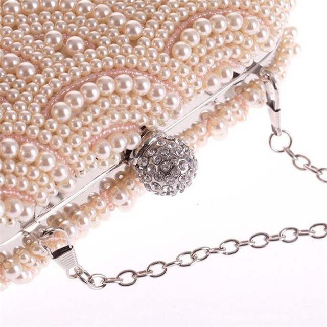 d3499a19534 ... 100% Hand made Luxury Pearl Clutch bags Women Purse Diamond Chain white  Evening Bags for Party Wedding black Bolsa Feminina. 11% Off. 🔍 Previous.  Next