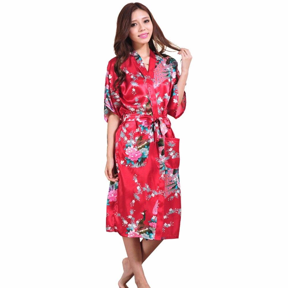 2014 Fashion Trends Burgundy Women's Silk Sleepwear Soft Lounge Bathrobe Night Gown Free Shipping Size S M L XL XXL XXXL S001-N