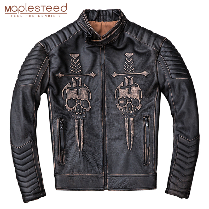 MAPLESTEED Vintage Distressed Motorcycle Jacket Men Skull 100% Calf Skin Slim Fit Leather Jacket Man Moto Biker Coat Winter M203
