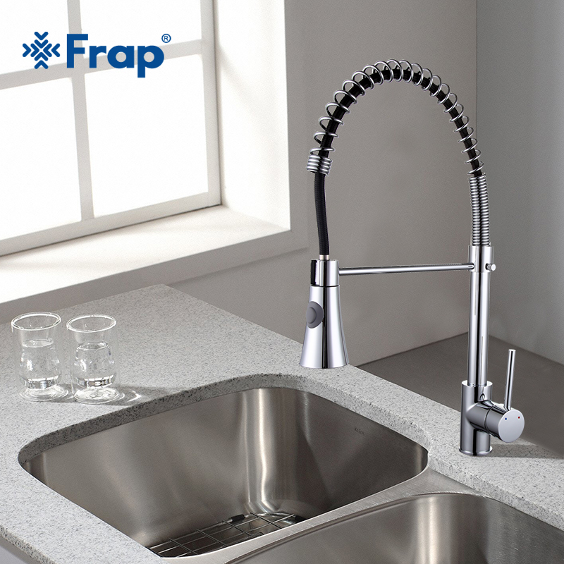 Frap Spring Fixed  Swivel Spout Single Handle Tap Pull out Spray Sink Chrome With Push Button Pull Down Kitchen Faucets F4452 .