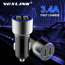 VOXLINK Dual USB car charger 5V3.4A for iPhone iPad Samsung Galaxy HTC Xiaomi Huawei fast adapter in the