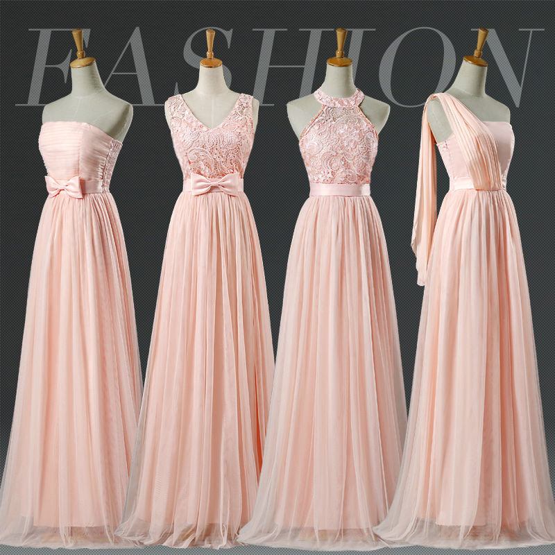 Women Blush Long Prom Party Graduation Gown Floor Length Halter Lace Pale Pink Bridesmaid Dresses LC250M